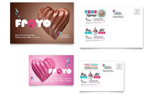 Frozen Yogurt Shop Postcard Template - Microsoft Office