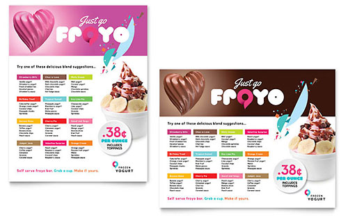 Frozen Yogurt Shop - Sample Poster Template - Word & Publisher