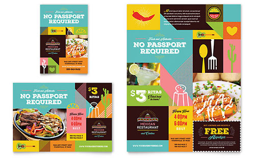 Mexican Food & Cantina Flyer & Ad Template - Microsoft Office