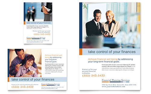 Financial Planning & Consulting Flyer & Ad - Word Template & Publisher Template