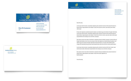 Investment Securities Company Business Card & Letterhead Template - Microsoft Office