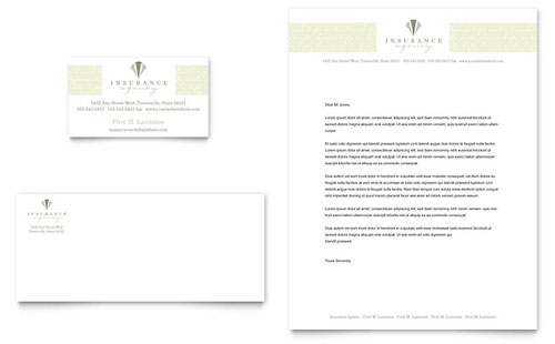Life & Auto Insurance Company Business Card & Letterhead - Microsoft Office Template