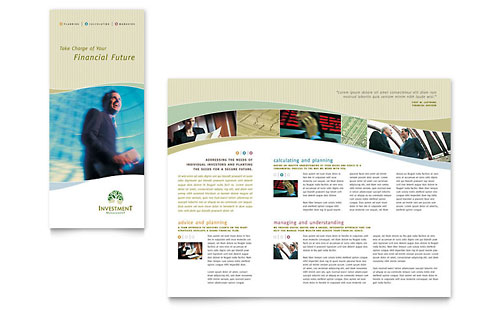Investment Management Tri Fold Brochure Template - Microsoft Office