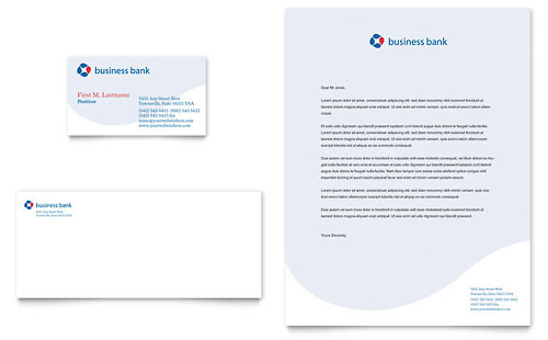 Business Bank Business Card & Letterhead - Microsoft Office Template