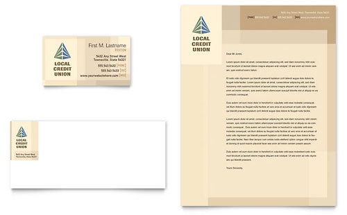 Credit Union & Bank Business Card & Letterhead - Microsoft Office Template