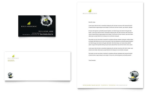 Wealth Management Services Business Card & Letterhead - Microsoft Office Template