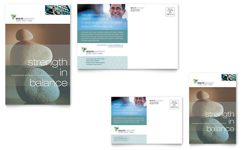 Wealth Management Services Postcard Template Design