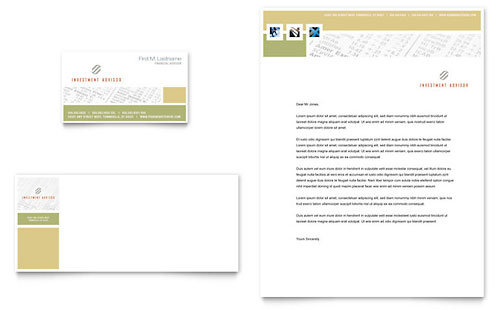 Investment Advisor Business Card & Letterhead - Microsoft Office Template