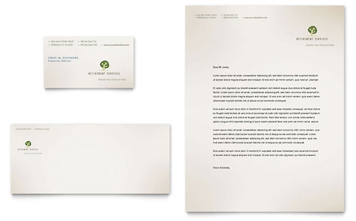 Retirement Investment Services Business Card & Letterhead - Microsoft Office Template