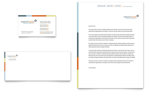 Private Bank Business Card & Letterhead - Microsoft Office Template