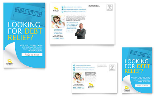 Consumer Credit Counseling Postcard Template Design