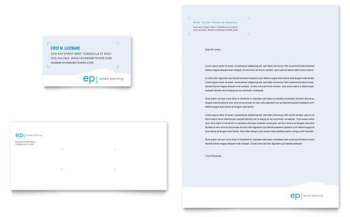 Estate Planning Business Card & Letterhead Template - Microsoft Office