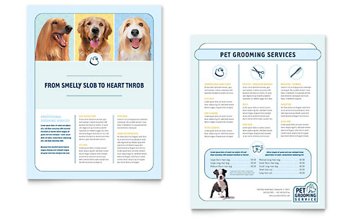 Pet Grooming Service Datasheet - Microsoft Office Template