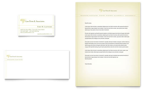 Attorney & Legal Services Business Card & Letterhead Template - Microsoft Office