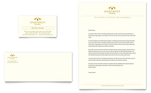 Apartment Living Business Card & Letterhead - Microsoft Office Template