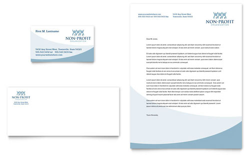 Community Non Profit Business Card & Letterhead Template - Microsoft Office