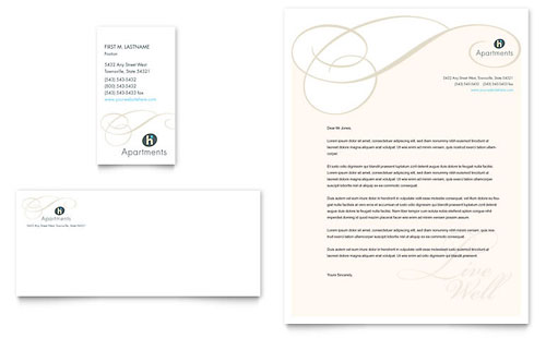 Apartment & Condominium Business Card & Letterhead Template - Microsoft Office
