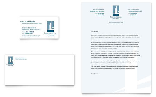 Commercial Developer Business Card & Letterhead - Microsoft Office Template