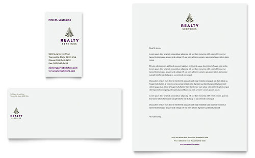 Realty Services Business Card & Letterhead Template - Microsoft Office