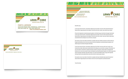 Lawn Care & Mowing Business Card & Letterhead Template - Microsoft Office