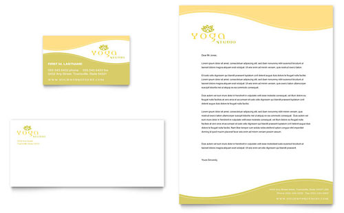 Yoga Instructor & Studio Business Card & Letterhead - Microsoft Office Template