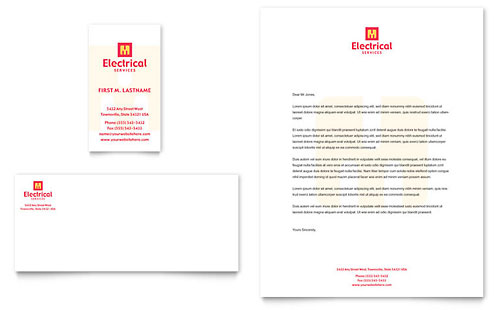 Electrical Services Business Card & Letterhead Template - Microsoft Office