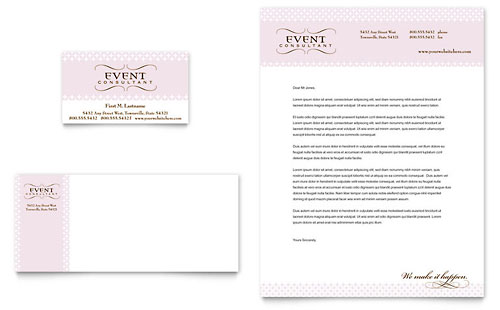Wedding & Event Planning Business Card & Letterhead - Microsoft Office Template