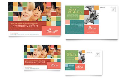 Non Profit Association for Children Postcard Template - Microsoft Office