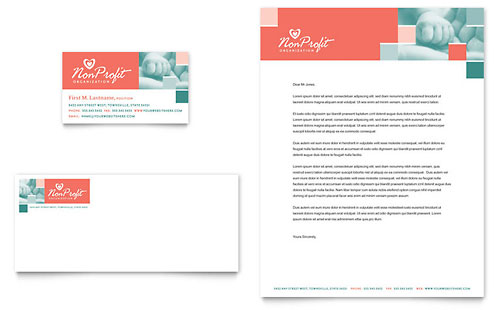 Non Profit Association for Children Business Card & Letterhead Template - Microsoft Office