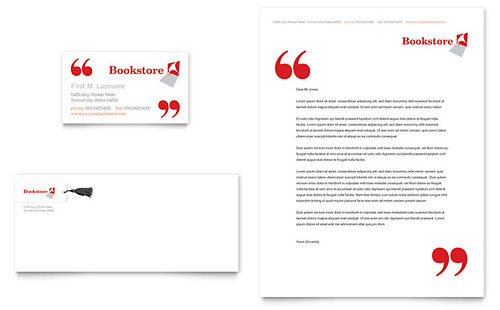 Bookstore & Library Business Card & Letterhead - Microsoft Office Template