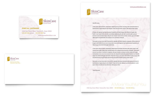 Skin Care Clinic Business Card & Letterhead Template - Microsoft Office
