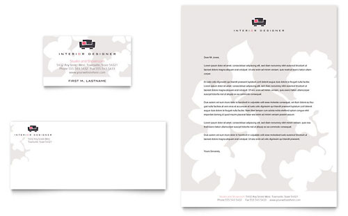 Interior Designer Business Card & Letterhead Template - Microsoft Office