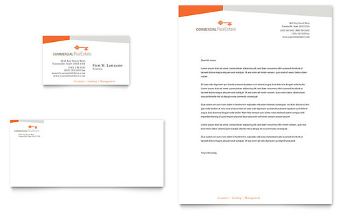 Commercial Real Estate Property Business Card & Letterhead - Microsoft Office Template