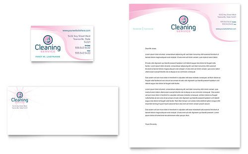 House Cleaning & Maid Services Business Card & Letterhead Template - Microsoft Office