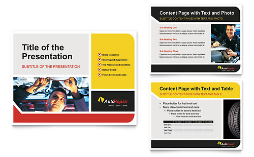 Auto Repair PowerPoint Presentation Template - Microsoft Office