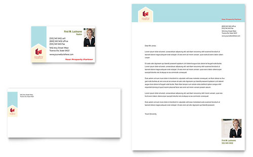 Home Real Estate Business Card & Letterhead Template - Microsoft Office