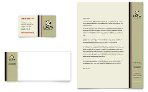 Lawyer & Law Firm Business Card & Letterhead Template - Microsoft Office