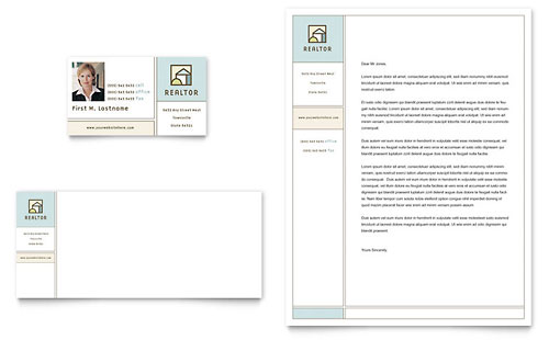 House for Sale Real Estate Business Card & Letterhead - Microsoft Office Template