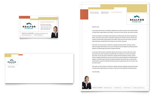Realtor & Real Estate Agency Business Card & Letterhead - Microsoft Office Template