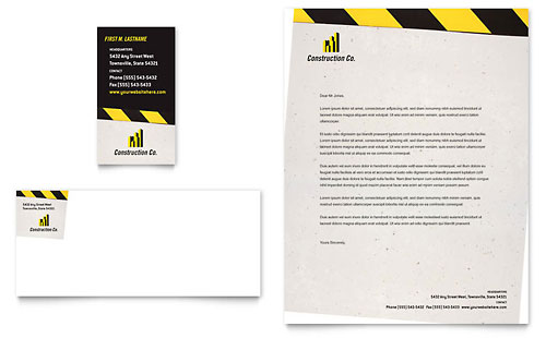 Industrial & Commercial Construction Business Card & Letterhead Template - Microsoft Office