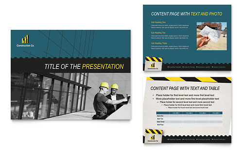 Industrial & Commercial Construction PowerPoint Presentation Template - Microsoft Office