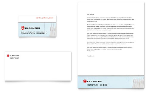 Laundry & Dry Cleaners Business Card & Letterhead Template - Microsoft Office