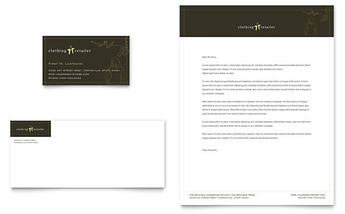 Women's Clothing Store Business Card & Letterhead Template - Microsoft Office
