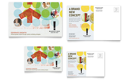 Marketing Consultant Postcard - Microsoft Office Template