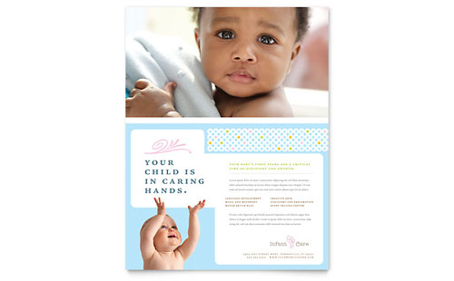 Infant Care & Babysitting Flyer - Microsoft Office Template