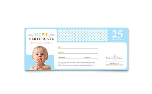 Infant Care & Babysitting Gift Certificate - Microsoft Office Template