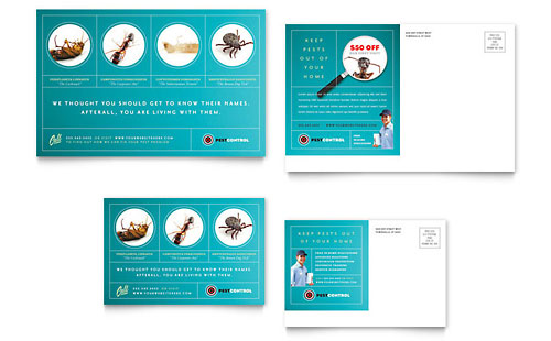 Pest Control Services Postcard Template - Microsoft Office