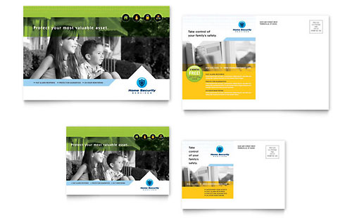 Home Security Systems Postcard Template Design