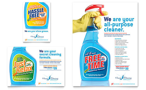 House Cleaning & Housekeeping Flyer & Ad - Word Template & Publisher Template