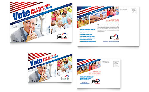 Political Campaign Postcard Template - Microsoft Office